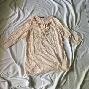 J.Crew Womens Pale Pink Semi Sheer Button Front